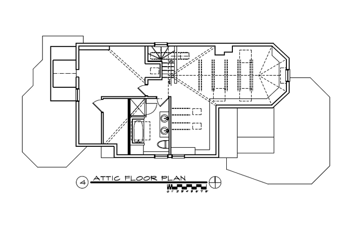 writer's attic studio, home office, skylights, built-in shelving, modernized Victorian home, single-family residential, bathroom, blueprints, dataCAD, floor plan