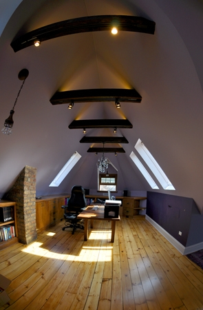 writer's attic studio, home office, skylights, built-in shelving, modernized Victorian home, single-family residential