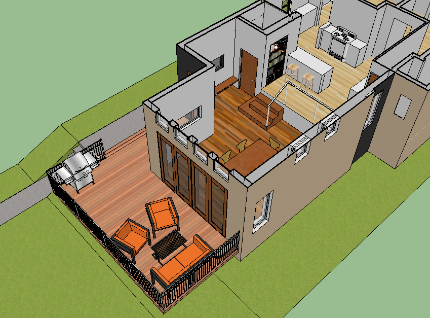 digital 3D SketchUp model of a residential addition