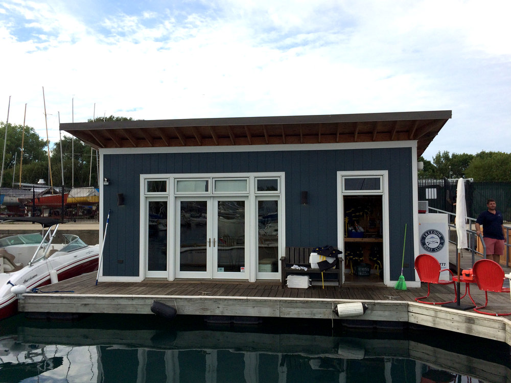 custom new construction, commercial design, floating office, houseboat, storage, Freedom Boat Club