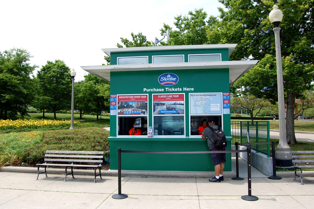 custom new construction commercial design ticket booth all-metal construction contextual design museum campus park structure architectural boat tour Lake Michigan waterfront lakefront water taxi