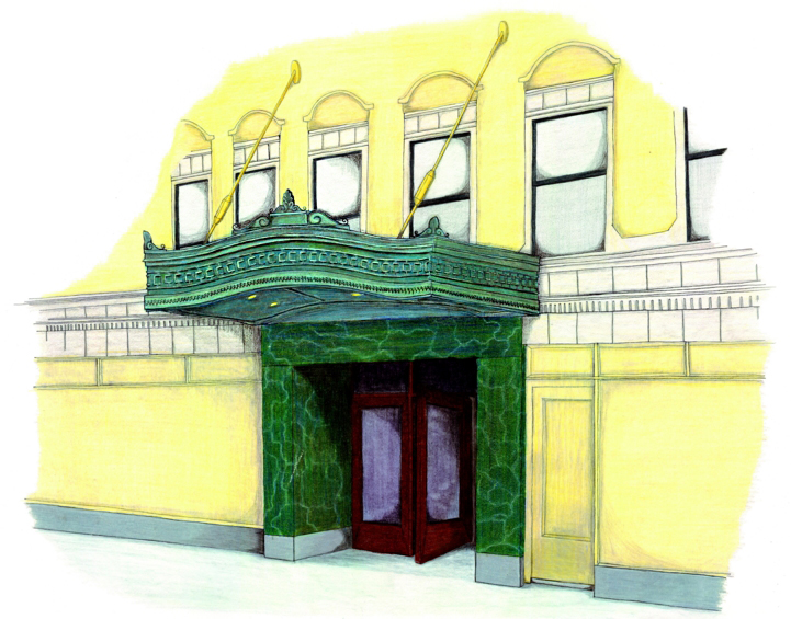 custom renovation, commercial design, redesign historic building entrance canopy, copper, historic restoration, design sketch rendering elevation