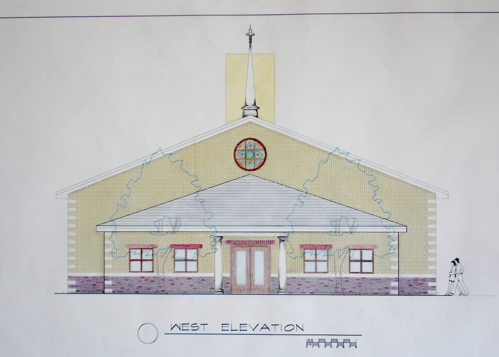 custom new construction, institutional design, church building, small congregation, architectural drawing, front elevation rendering