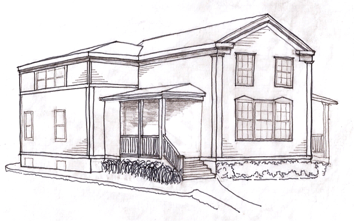 1850s federal-style house, historic preservation, historic landmark, residential renovation, contextual design, elevation, architectural rendering, perspective drawing
