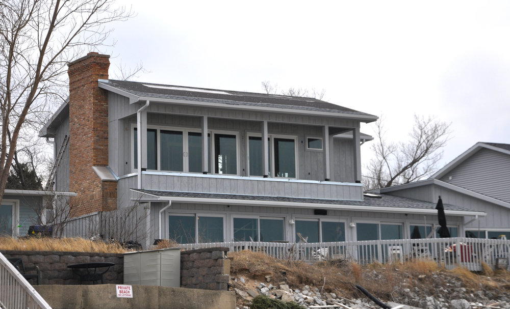custom single-family residential addition renovation, beach house, lakefront, waterfront, lake michigan, balcony