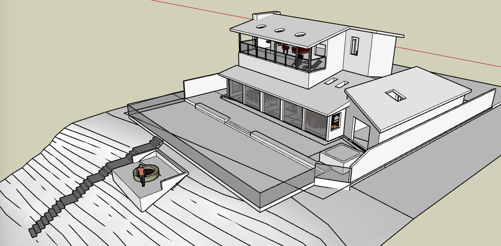 custom single-family residential addition renovation, beach house, lakefront, waterfront, lake michigan, balcony, Google SketchUp Pro, 3D digital rendering model
