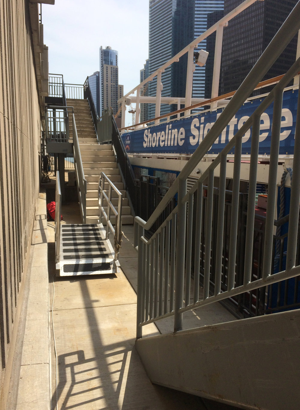 custom new construction, commercial design, staircase, stairway, new stairs, Chicago Riverwalk River, boat dock, improve access, waterfront, riverfront, waterways