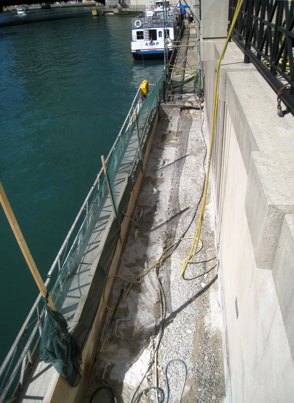 Under construction: lowering the dock to accommodate the boat deck height