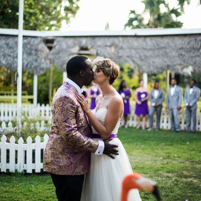 Hot 91.7fm  on-air personality  jay isaacs  and wife wed in the flamingo at the ardastra gardens, zoo and conservation centre.
