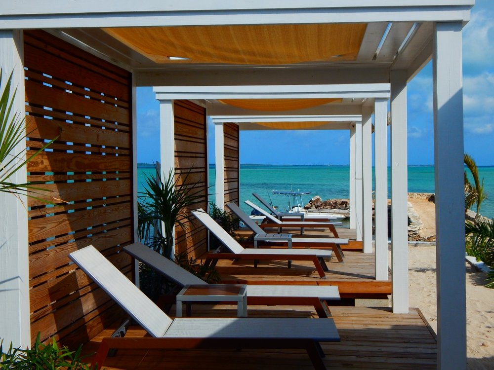tunnel view of beachside cabanas at s.t.a.r. island bahamas.