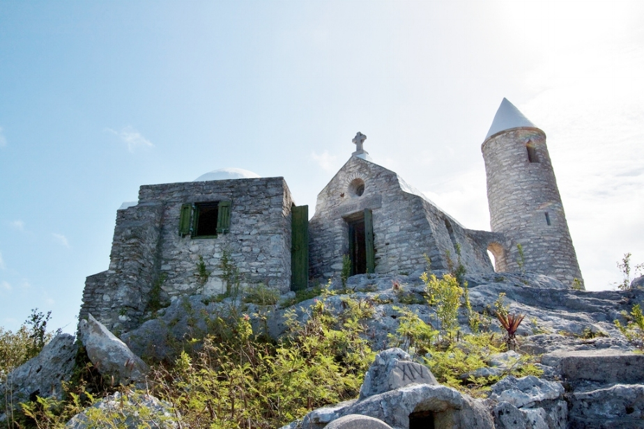 Sea level view of the 206 feet tall Mount Alvernia hermitage in Cat Island.