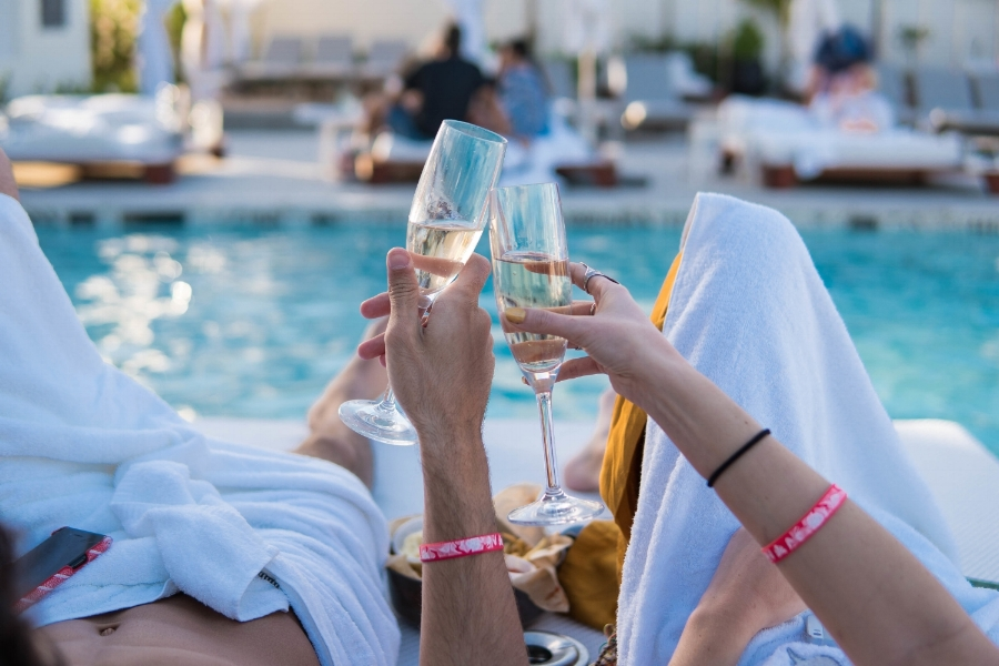 Lay by the poolside of club privilege at the  sls baha mar with your lover and have a drink... or several!