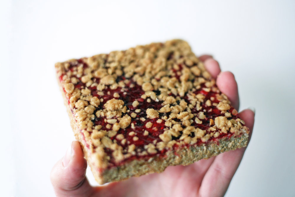 Delicious raspberry oat bar!