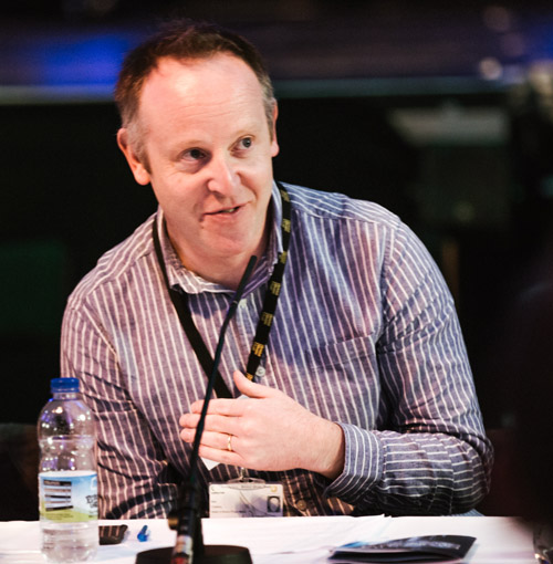 Image: Phil Castang, Head of Bristol Plays Music, speaking at the Breaking the Glass Ceiling Symposium at Fast Forward Festival 2017, Colston Hall, Bristol. Photo: Dominika Scheibinger