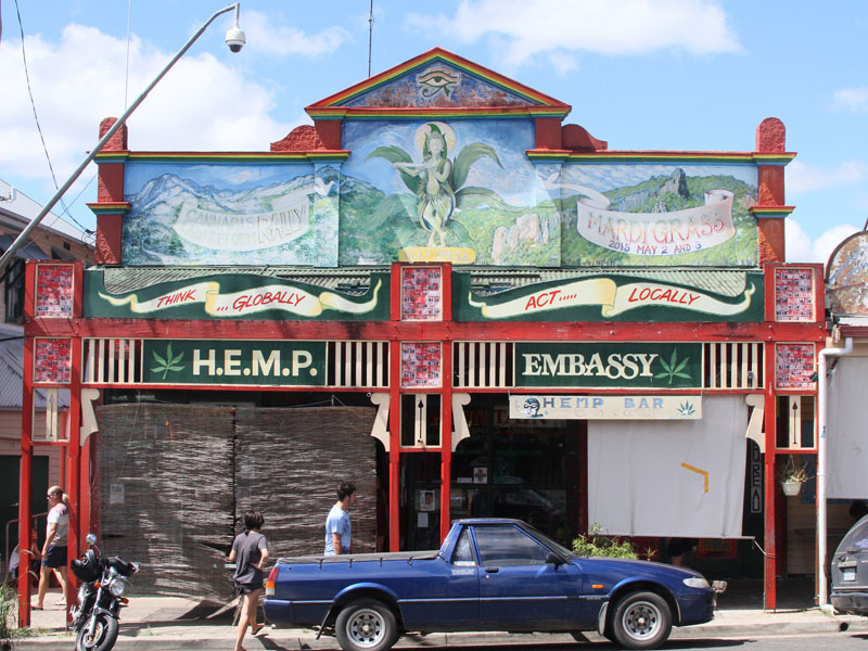 Many interesting sights on Nimbin Main Street.