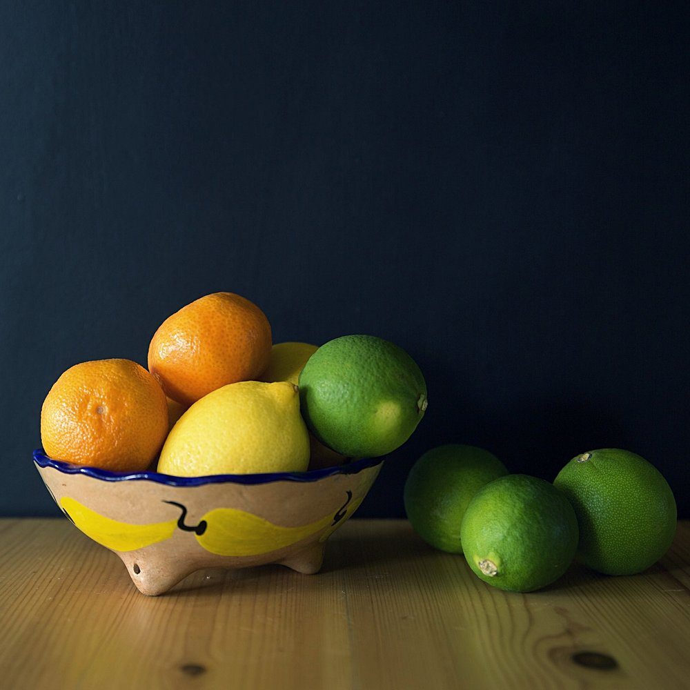 Citrus fruit in a Mexican bowl.