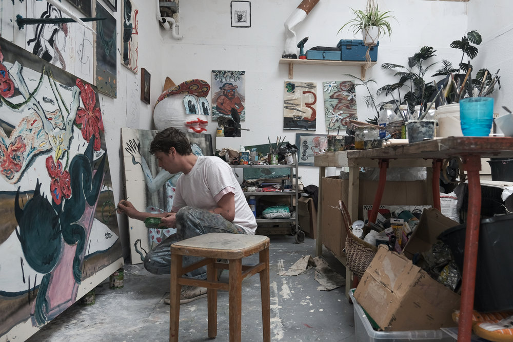 Thom Trojanowski Hobson in his Suffolk studio.