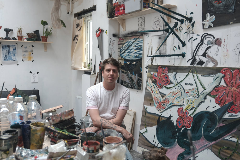 A portrait of Thom Trojanowski. Painter extraordinaire. Asylum Studios, Suffolk.