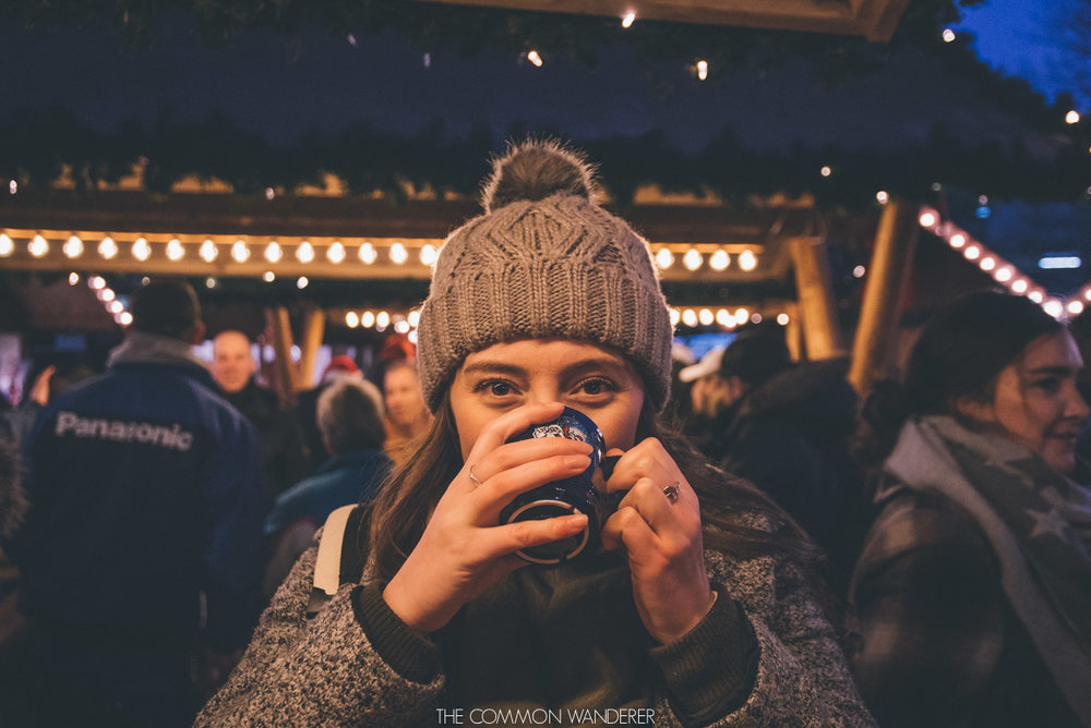 Enjoying gluhwein at Hamburg Christmas market
