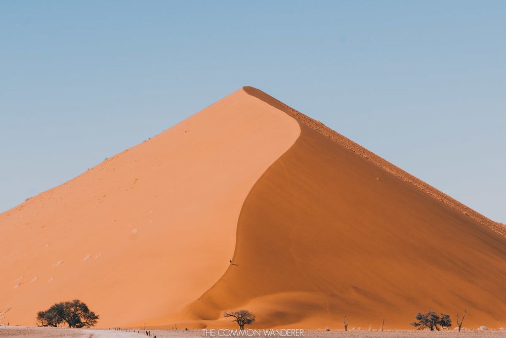 a man climbs Dune 45 Sossusvlei Namibia - best destinations to visit in 2018