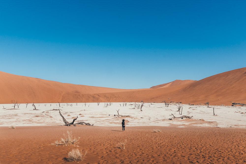 Walking in Deadvlei at Sossusvlei National Park Namibia