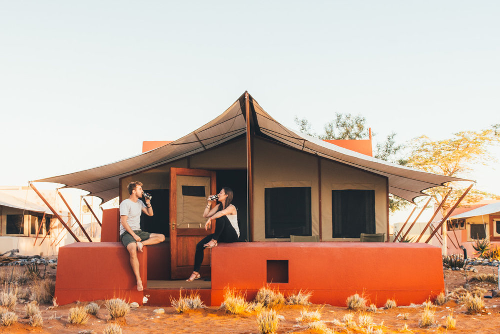 Enjoying a sundowner in Sossusvlei Namibia