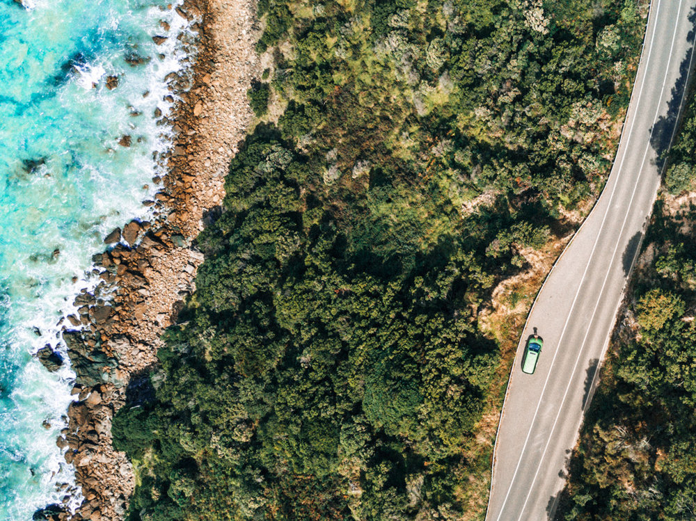 an aerial perspective of the Great Ocean Road, Lorne, Australia