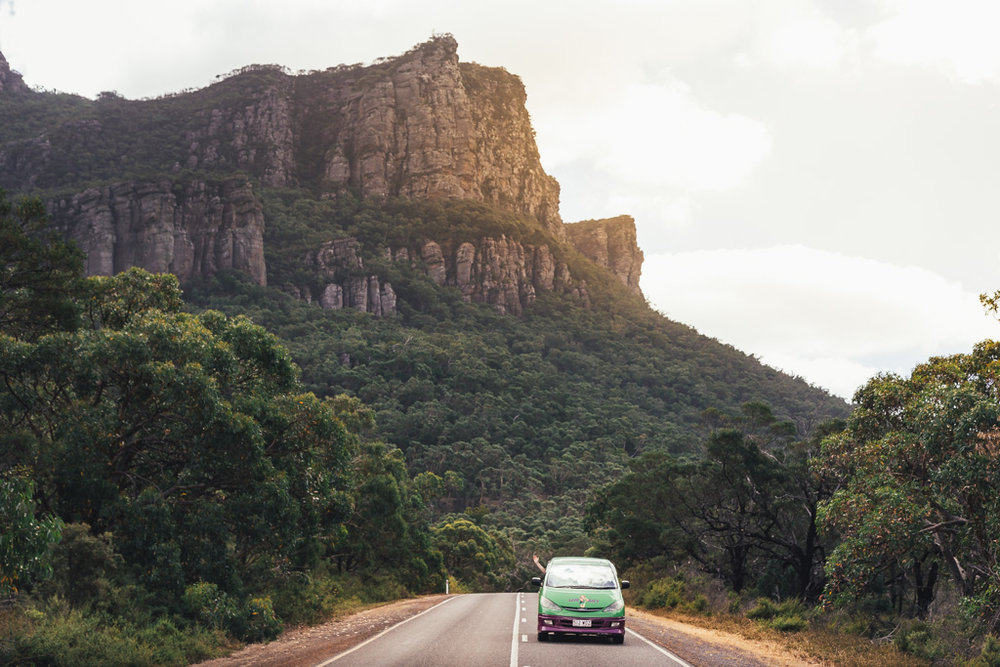 Driving our Jucy Rentals van on our road trip through Victoria, Australia