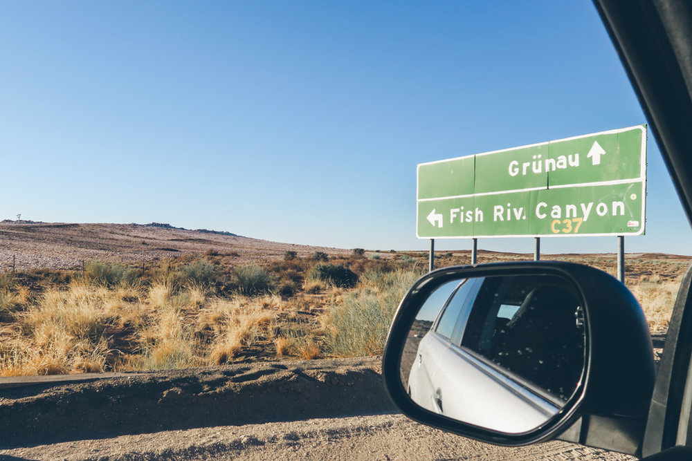 A road sign to fish river canyon, Namibia
