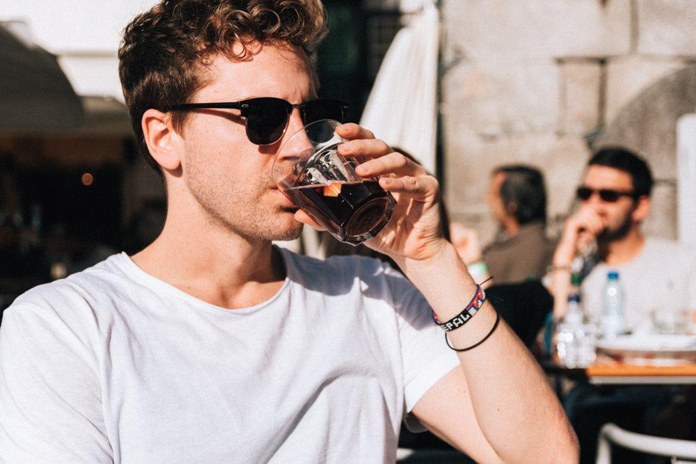 Drinking Sangria in Ribiera, Porto