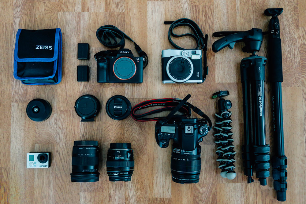 What's in our camera bag? Sony A7RII, Canon 70D, Fujifilm Instax 90