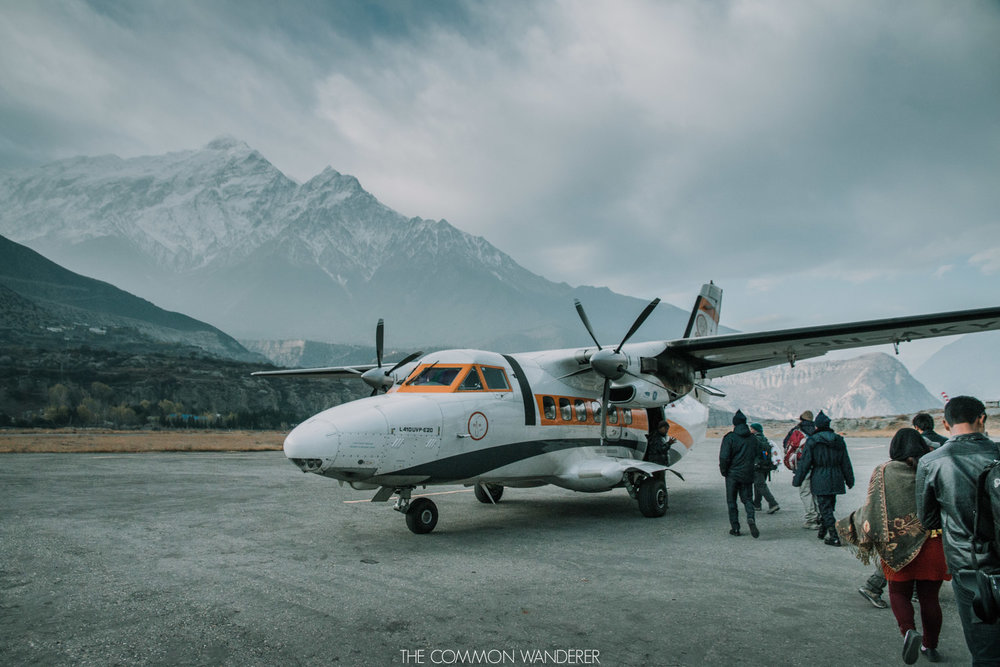 flying from Jomsom to Pokhara