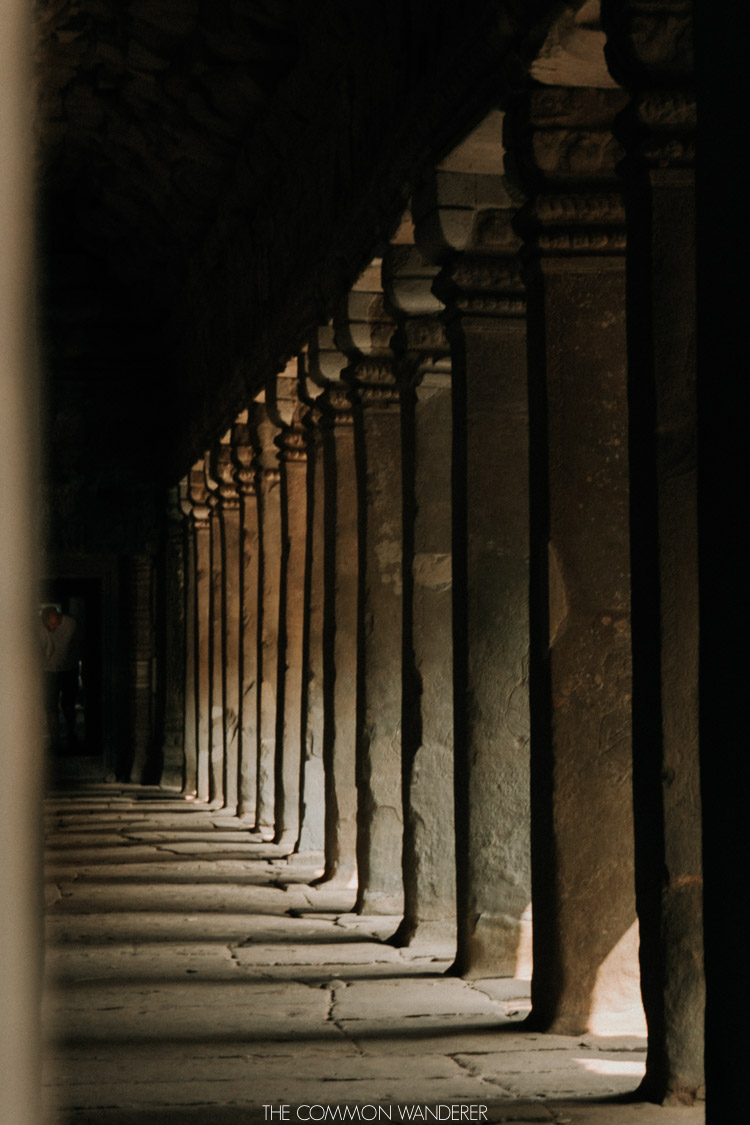 Cambodia photo diary shadows on the floor of angkor wat