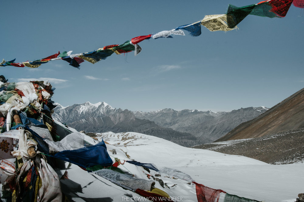 prayer flags over the Annapurna Circuit