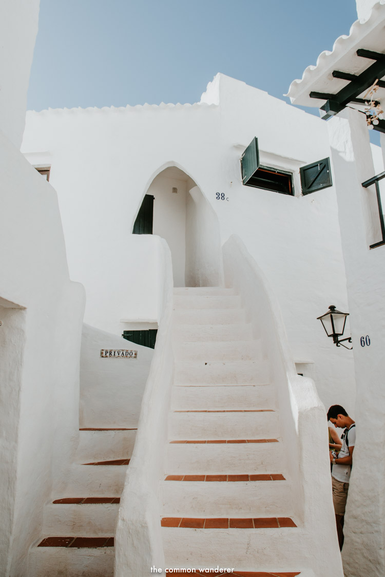 Stairs to a home in the fishing village of Binibeca, Menorca, Spain