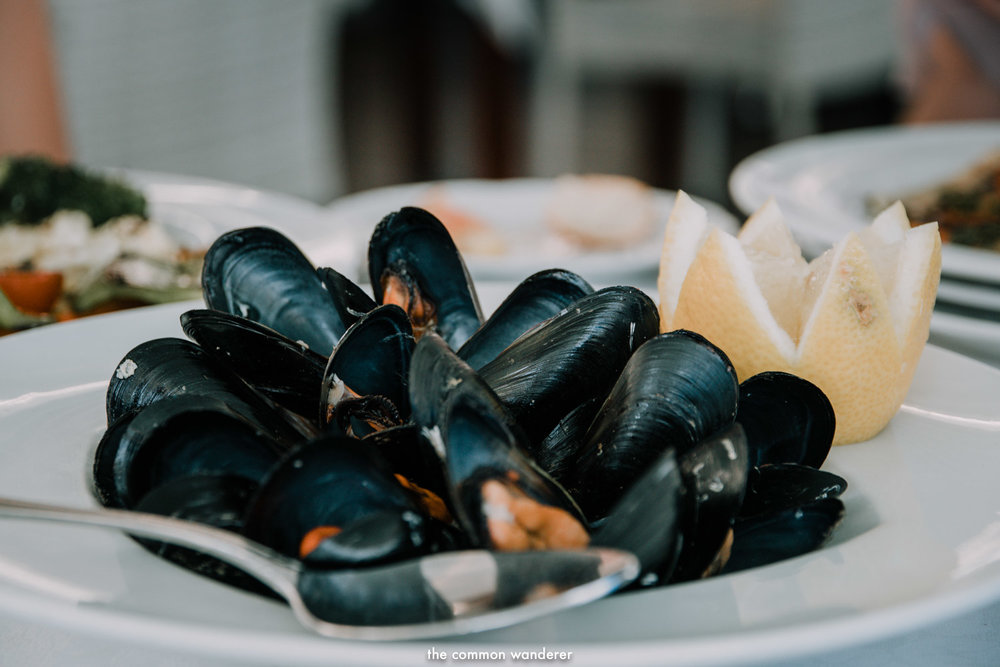 Mussels from La Minerva restaurant, Mahon harbour Menorca, Spain