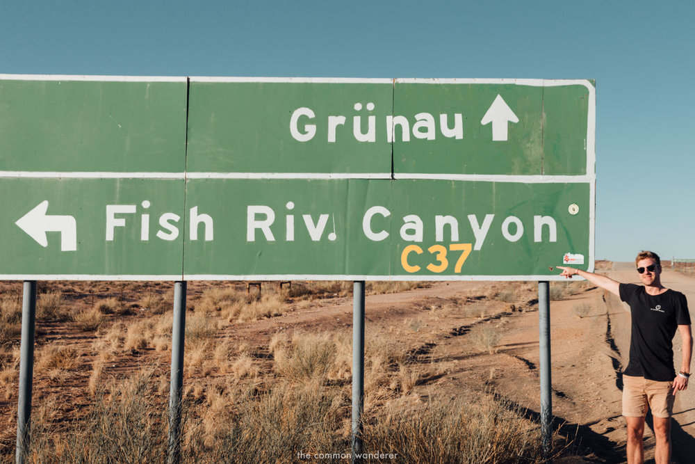 The sign to Fish River Canyon, Namibia