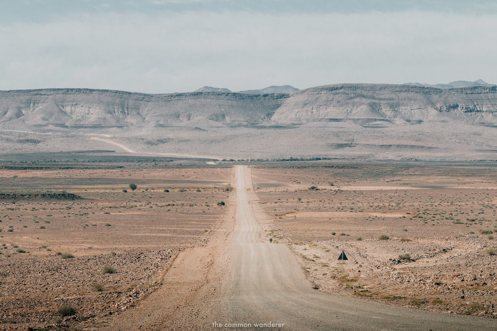 Long, empty roads in Namibia - driving in namibia tips