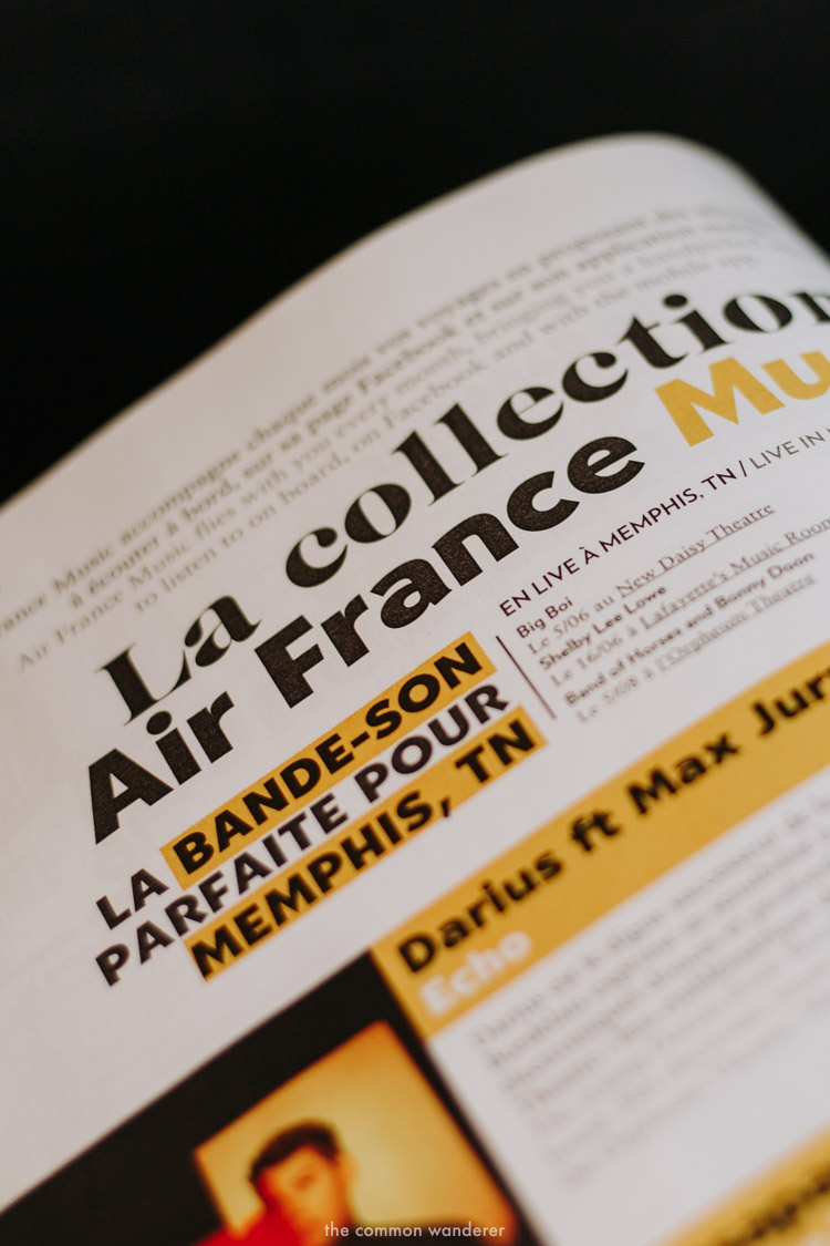A close up of the Air France in-flight magazine