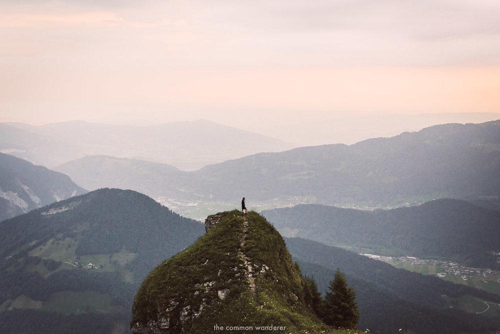 A man standing on the edge of Kanisfluh, Vorarlberg, Austria