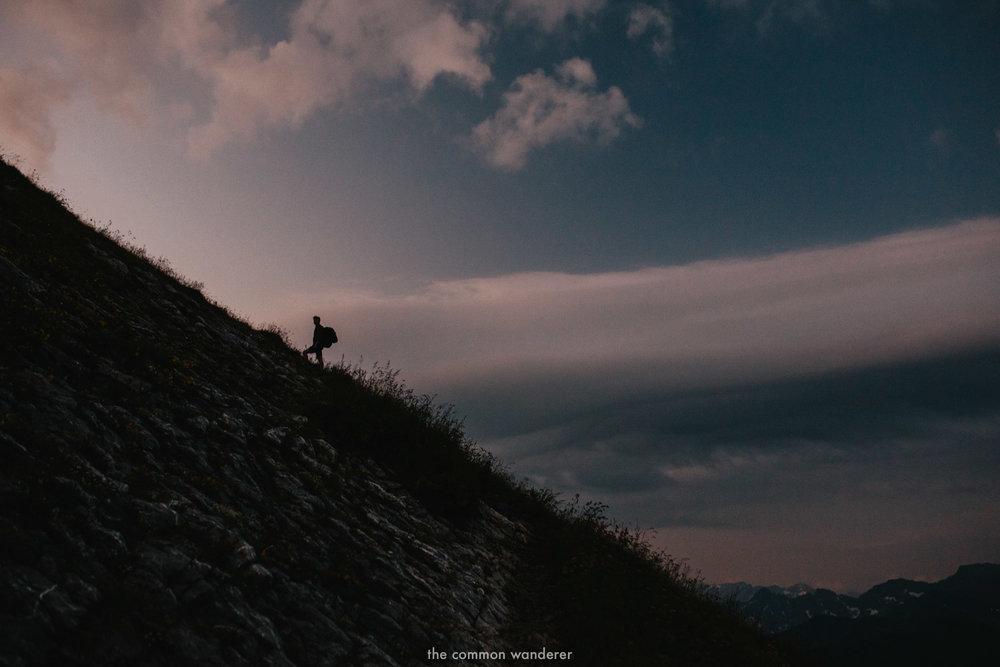 HIking up Kanisfluh mountain in the early morning, Vorarlberg, Austria