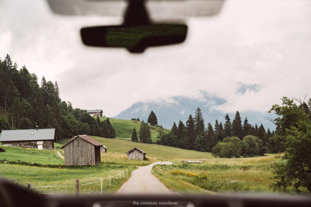 Driving through the countryside in Vorarlberg, Austria
