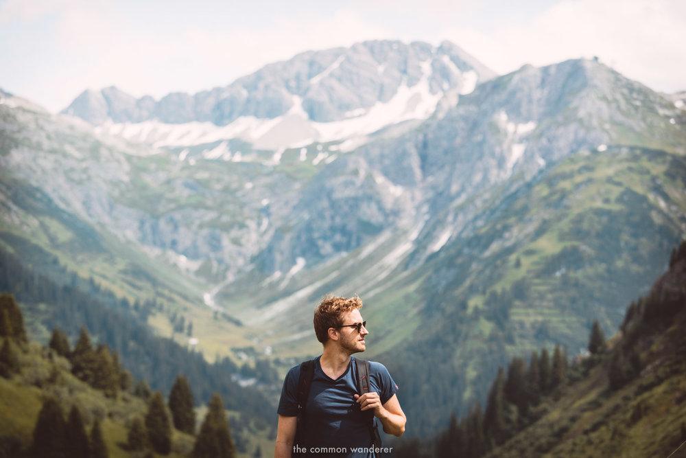 Mark hiking through the alpine ranges, Vorarlberg, Austria