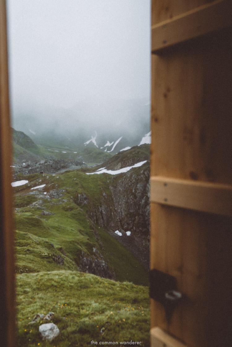 The open door of the Bivouac in Lech, Vorarlberg