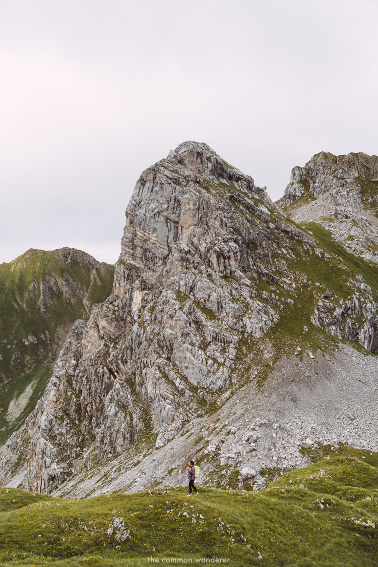 Miranda hiking through Omeshorn Mountain, Lech, Vorarlberg