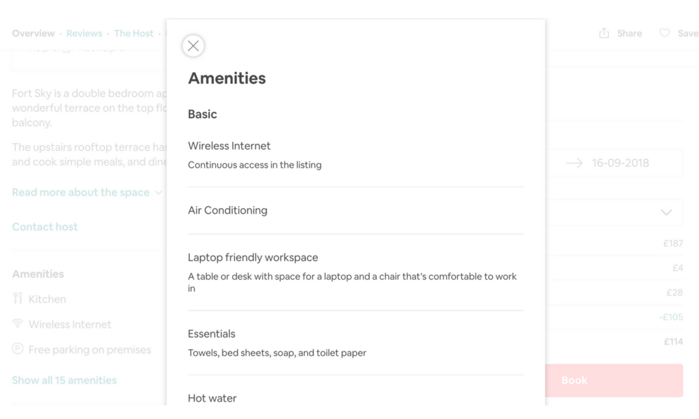 Airbnb guide - check amenities