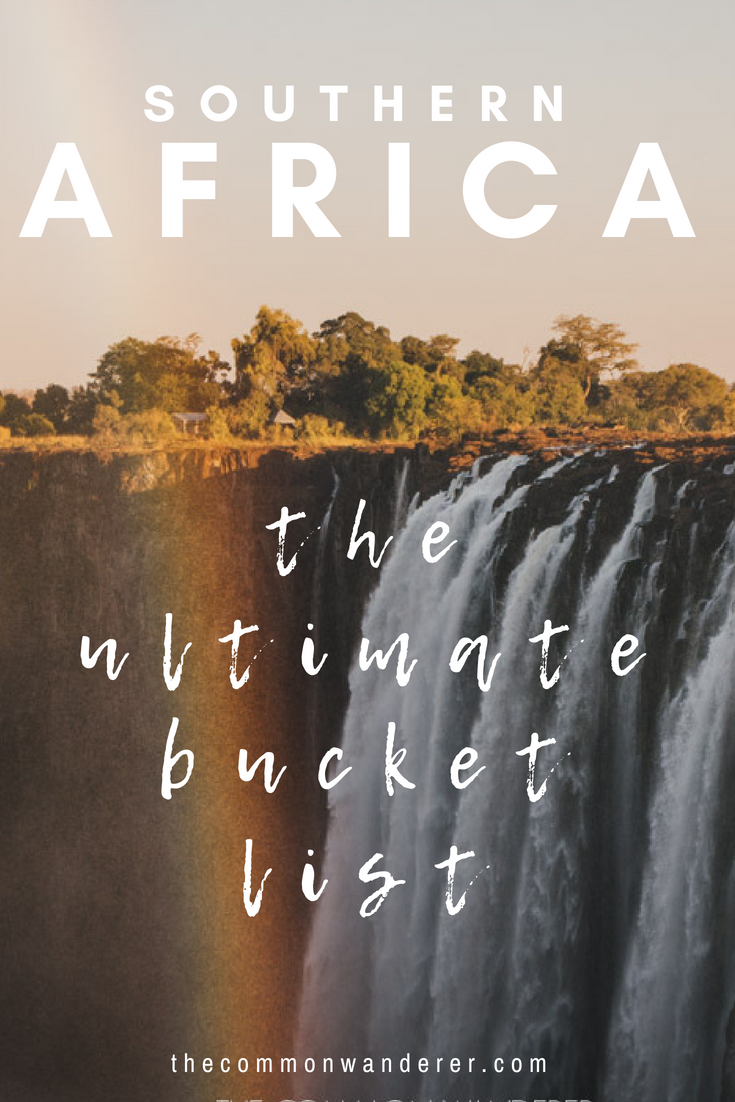 Planning a trip to Southern Africa? Here's our ultimate Southern Africa bucket list to help you plan your adventures, from Victoria Falls to the dunes of Namibia, the Okavango Delta to the beauty of Cape Town. | Africa travel | Namibia | Botswana | South Africa | Zambia | Africa safari | Africa bucket list | Africa travel tips | #Africa