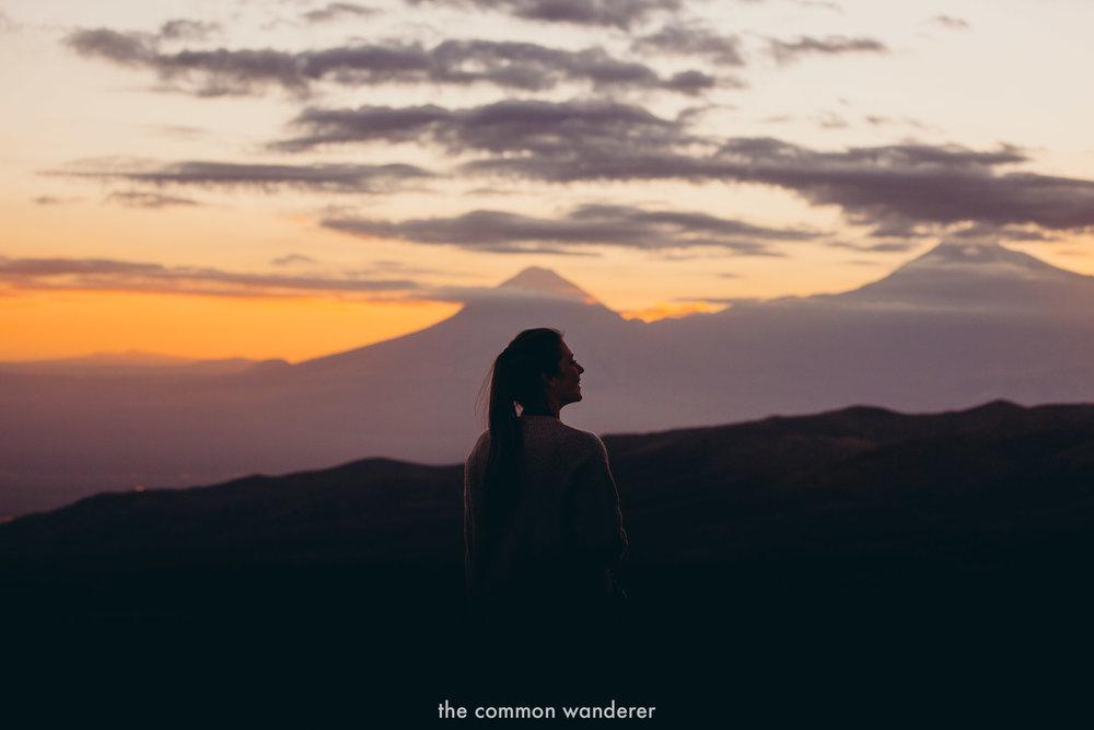 A woman overlooks Mt. Ararat in Armenia