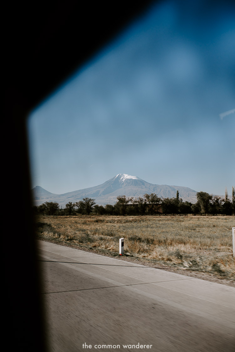 The view of Mt. Ararat driving to Khor Virap Monastery, Armenia