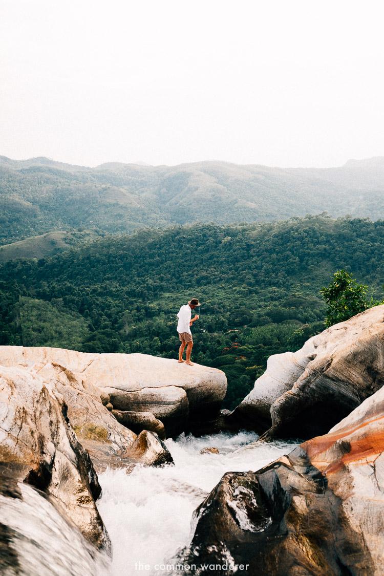 Standing on the edge of Diyaluma falls, Sri Lanka